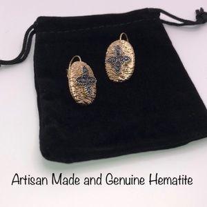 Hematite Cross Hinge Dangles earring gold plated